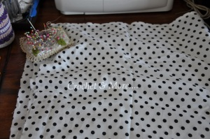 I used this fun black & white polka dot fabric for the lining