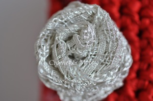 Silver lace ribbon rose